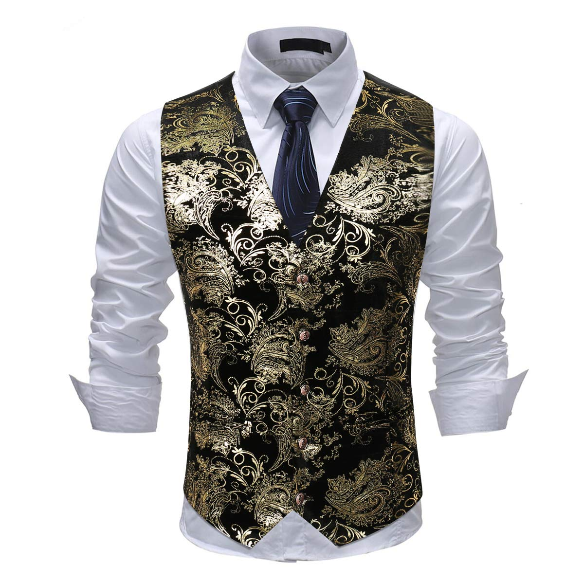 Cloudstyle Mens Single Breasted Vest Dress Vest Slim Fit Button Down Prom Formal Suit Vest Waistcoat by Cloudstyle