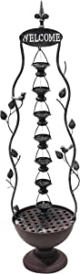 Alpine Corporation MAZ256 Metal Hanging 7-Cup Tier Layered Bronze Indoor/Outdoor Water Fountain for Garden, Entryway, Patio, Yard, 41 Inch Tall