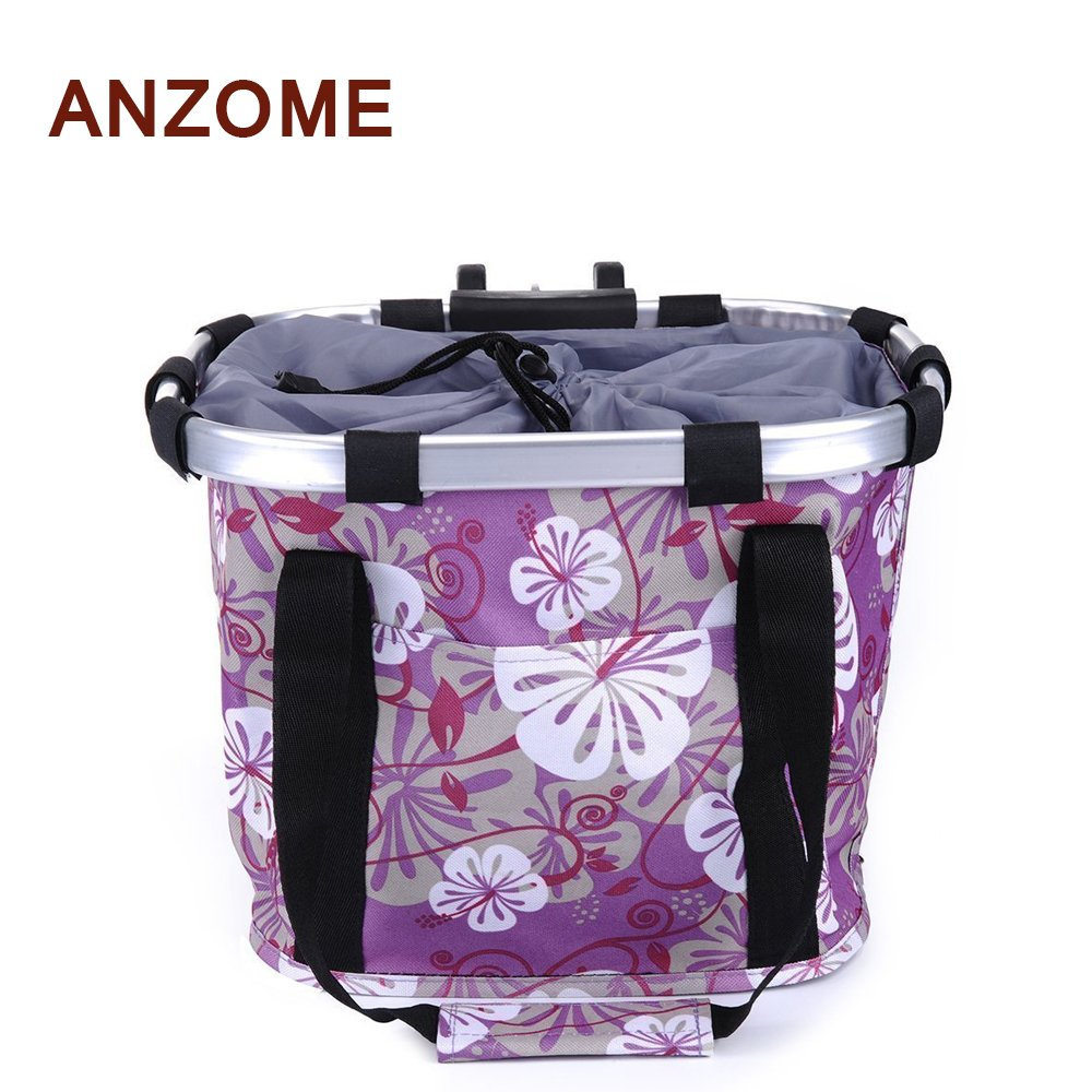 ANZOME Folding Bicycle Bike Basket, Front Detachable Handlebar Cycling Pet Bike Basket Carrier Bag Pet, Handle Diameter 22.7-32mm(0.8in-1.2in) Maximum Loading Capacity 5kg(11lb) by ANZOME (Image #1)