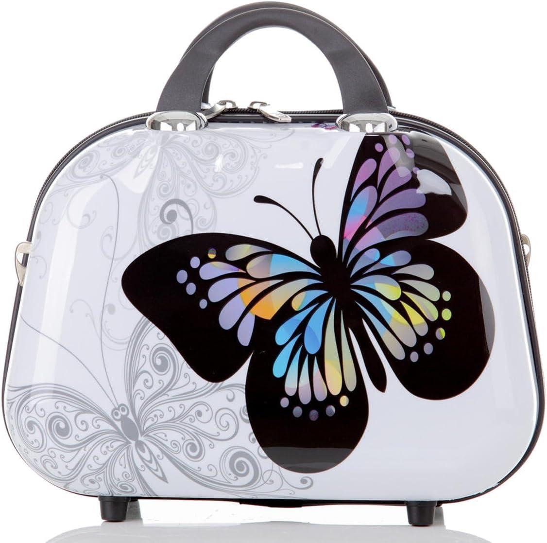 Maleta Neceser Viaje Cosmético Estuche Rígido Resistente Policarbonato ABS con motivo BB (Mariposa, Tamaño S (Neceser))