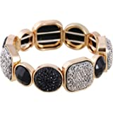 D EXCEED Gift Idea Stone Bracelet or Earrings Diamond Cluster Resin Bead Stretch Bangle for Women