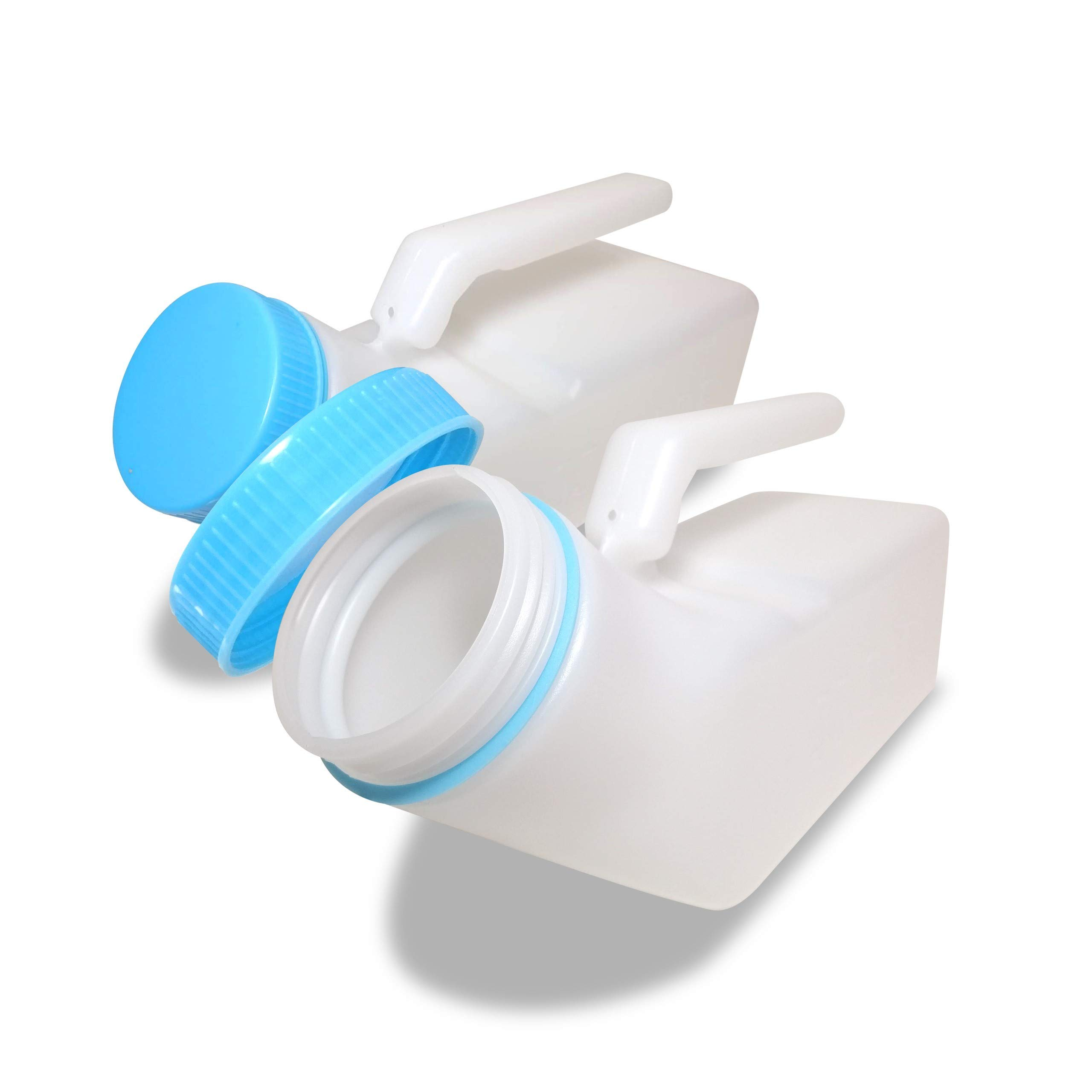 [Pack of 2] [Glow in The Dark] Spill Proof Urine Bottles for Men, Screw Cap Plastic Pee Holder, Portable Urinal, Urine Collection for Hospital, Incontinence, Elderly, Travel Bottle and Emergency by JJ CARE