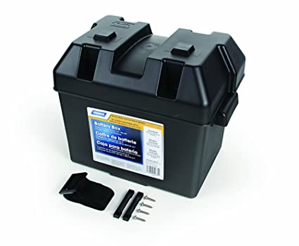 3589890336 Camco Heavy Duty Battery Box with Straps and Hardware - Group 24 |Safely  Stores RV