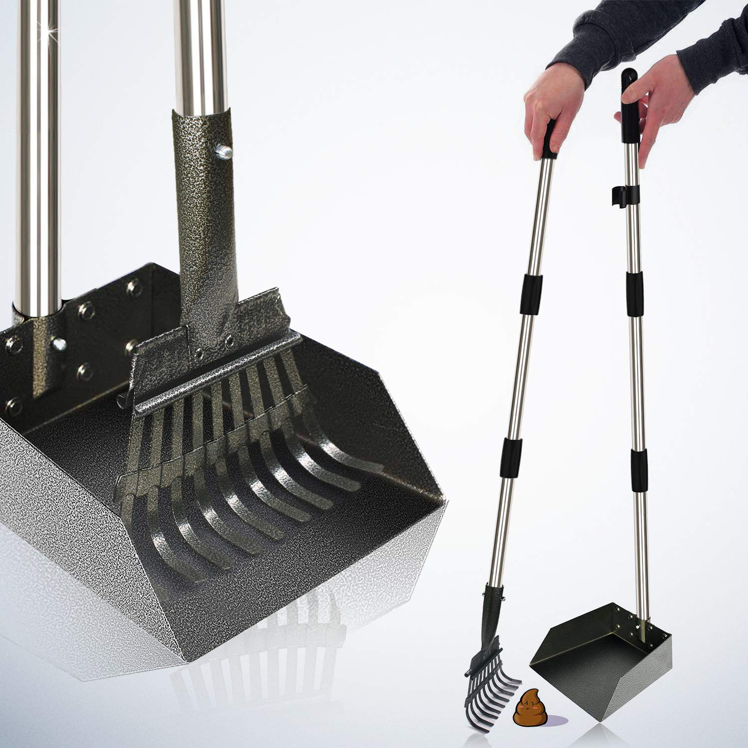 [2019 Upgraded] Metal Pooper Scooper Easy Pick Up Dog Poop Rake & Scoop Set with 37.4'' Long Handle No Bending Partable Yard Poop Scooper Perfect for Small to Large Dogs (Rake & Scoop, Black) by MigooPet