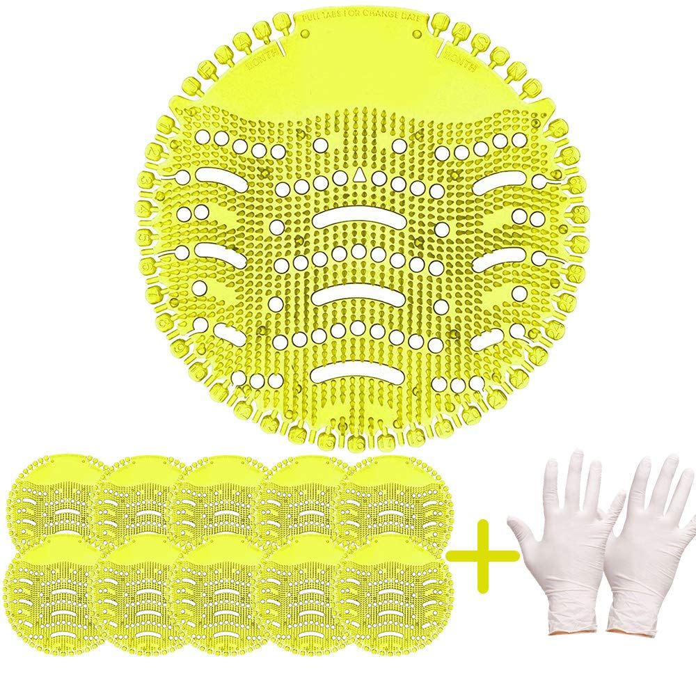 Discount-Urinal Screen & Deodorizer (10-Pack+Clean Gloves) by FANS&FUN for Bathrooms, Restrooms, Office, Restaurants, Schools''Yellow''