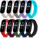 Pack 10 Bands for Xiaomi Mi Band 5 Straps/Xiaomi Mi Band 6 Straps/Amazfit Band 5 Straps, Soft Silicone Replacement Wristbands