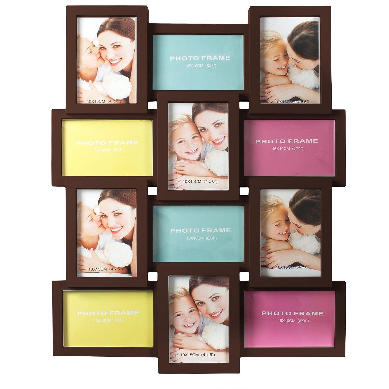 Smartfox Bilderrahmen Fotorahmen Collage für 12 Bilder im Format 6 ...