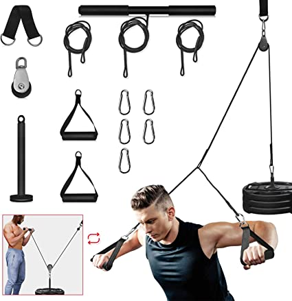 single Gym Home training Lat Bicep Tricep Pull Down Rope Cable Attachment Handle