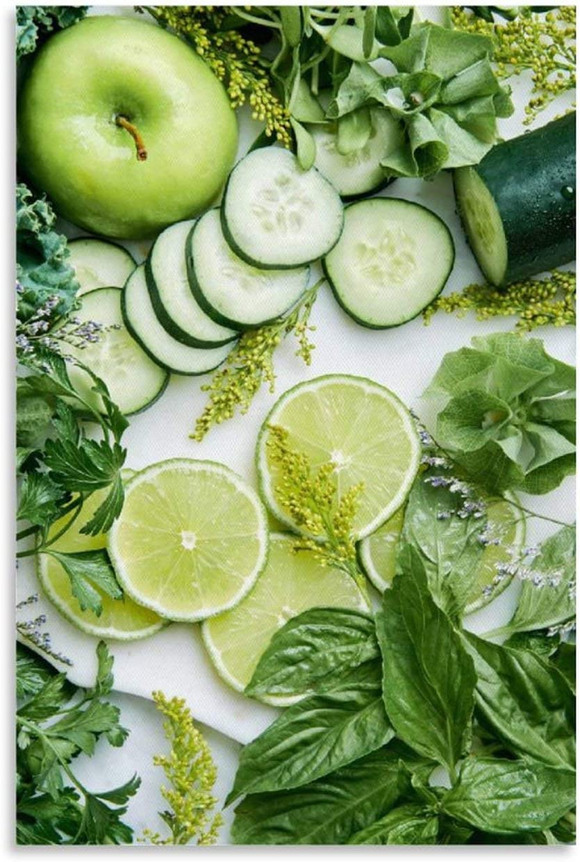 Green Aesthetic Healthy Fruit Element Art Wall Poster for Restaurants and Kitchens Canvas Art Poster and Wall Art Picture Print Modern Family Bedroom Decor Posters 24x36inch(60x90cm) Shop