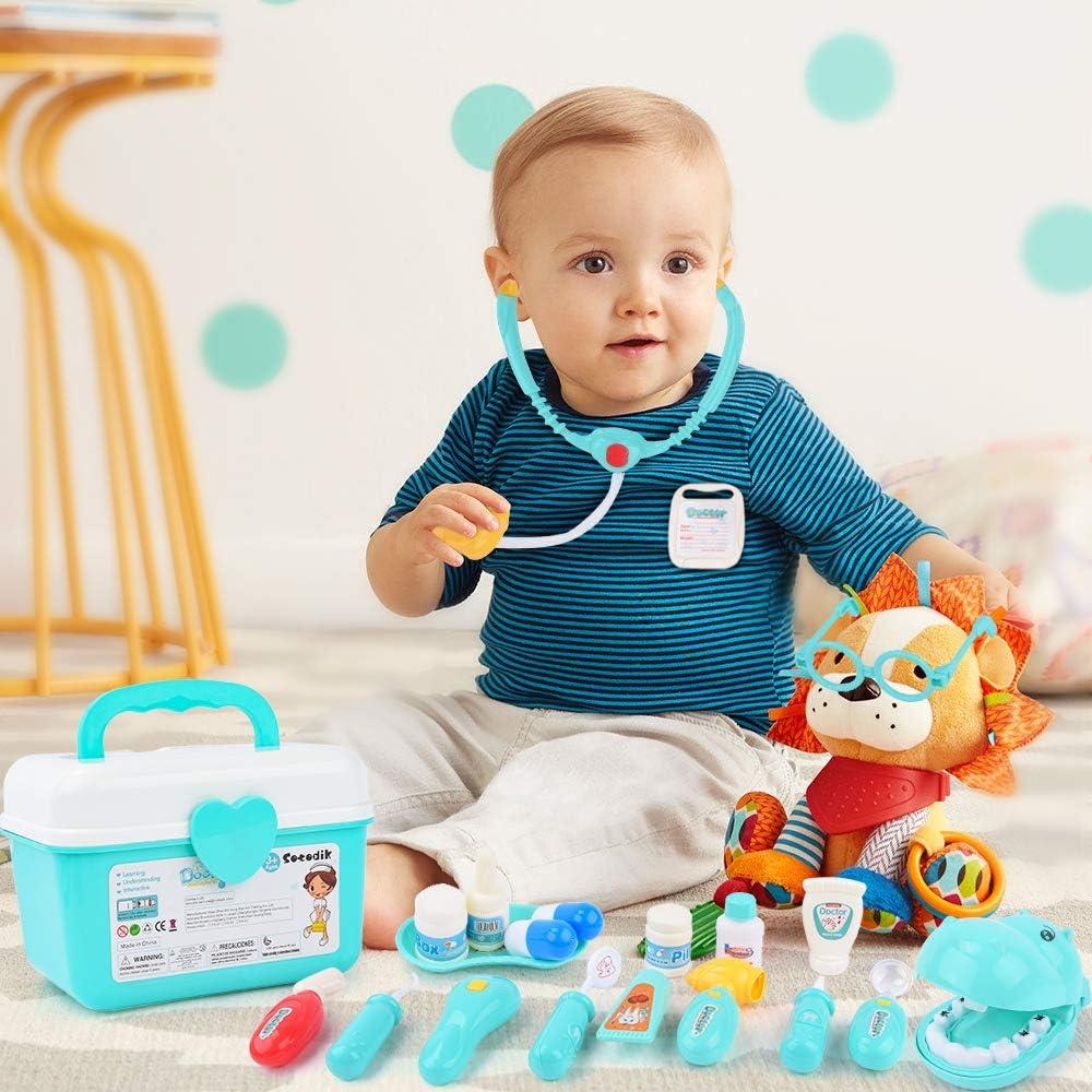 Sotodik 43 St/ück Arztkoffer Medizinisches Spielzeug Doktorkoffer Spielset Kinder Rollenspiel Spielzeug,Zahnarzt Doktor Kit mit Elektronischem Stethoskop,Geschenke f/ür ab 3 Jahre M/ädchen Junge Kinder