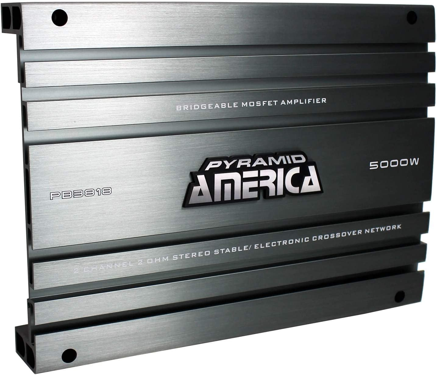 2 Channel Car Stereo Amplifier - 5000W High Power 2-Channel Bridgeable Audio Sound Auto Small Speaker Amp Box w/ MOSFET, Crossover, Bass Boost Control, Silver Plated RCA Input Output - Pyramid PB3818