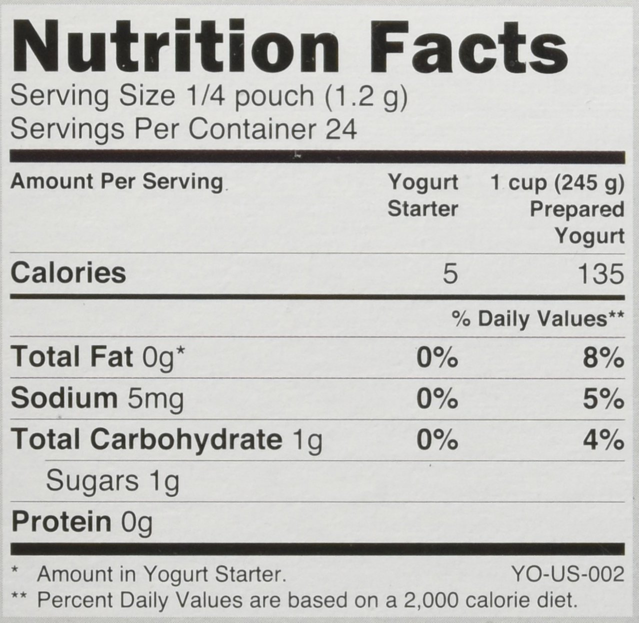 Yo Gourmet Freeze Dried Yogurt Starter - 1 Box Containing 6 Each 5 Gram Packets: Amazon.com: Grocery & Gourmet Food