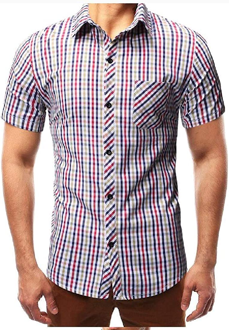 Domple Mens Casual Plus Size Button Up Short Sleeve Slim Fit Dress Checkered Shirt