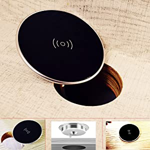 Wireless Charger For iPhone 11 / XR /iPhone 8 - For Samsung Galaxy Note 10/ S10 QI Wireless Charger Grommet Hole In Desk Charging Wireless Qi Charger Installation Desks Conference Tables Counter Tops