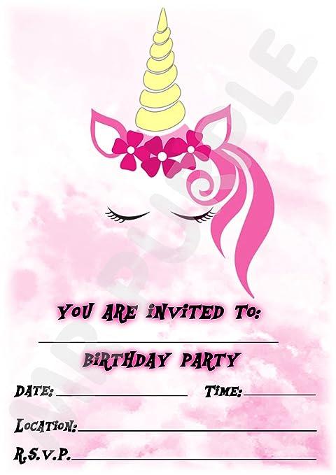 Unicorno Inviti Per Festa Di Compleanno A Tema Ritratto Rosa