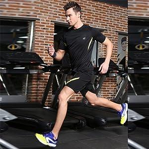 スポーツウェア メンズ ランニング ヨガ メンズ 半袖 Tシャツ ハーフパンツ 上下セット ブラック2XL