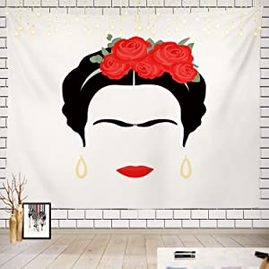 Batmerry Mexican Flowers Art Tapestry, Portrait Mexican Woman with Red Flowers Her Hair Ancient Picnic Mat Hippie Trippy Tapestry Wall Art Decor for Bedroom Living Room, 51.2 x 59.1 Inches, Red