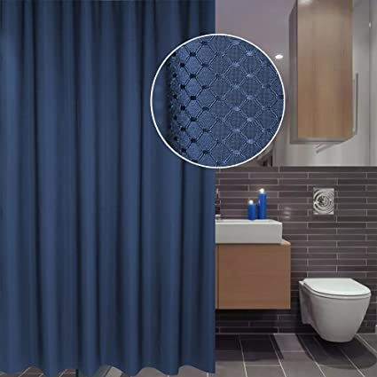 UFRIDAY Shower Curtain Waffle Check Design Solid Navy Blue Mildew Free 36