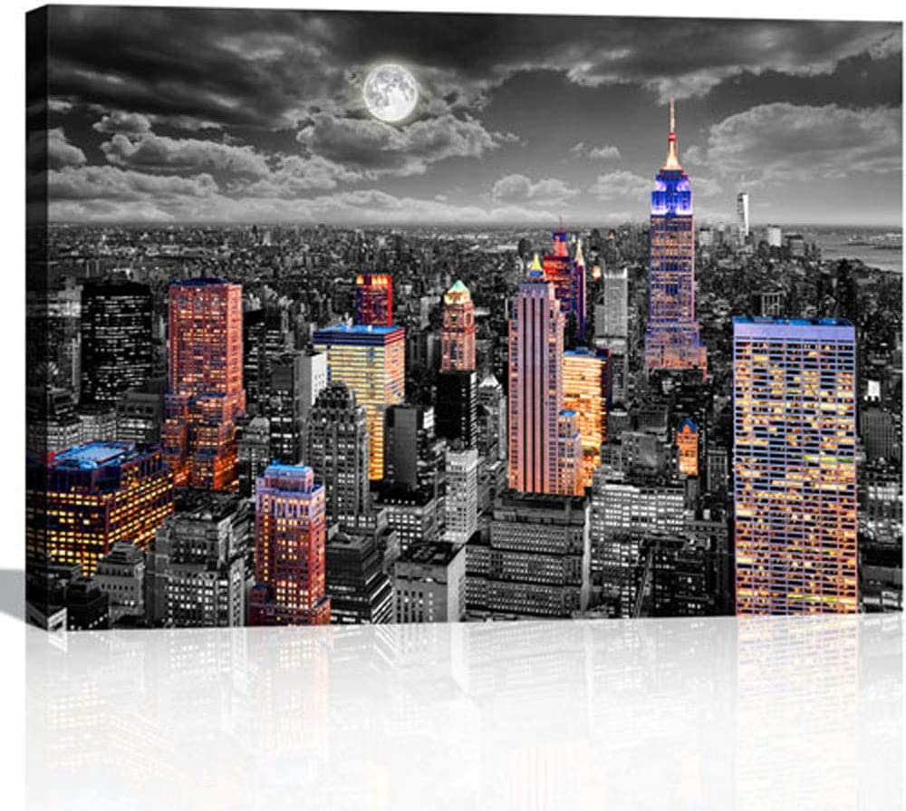 Wall Art for Bedroom Office Black and White New York Wall Art New York City Skyline Wall Decor NYC Canvas Print Framed Modern Wall Art
