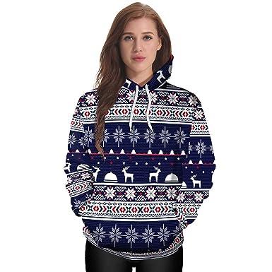 a9866e736600 OverDose Damen Winter Karneval Mode Stil Frauen Weihnachten 3D Party  Schneeflocke Elch Print Top Hoodie Sweatshirt Pullover Outdoor Schnee Dünne  ...