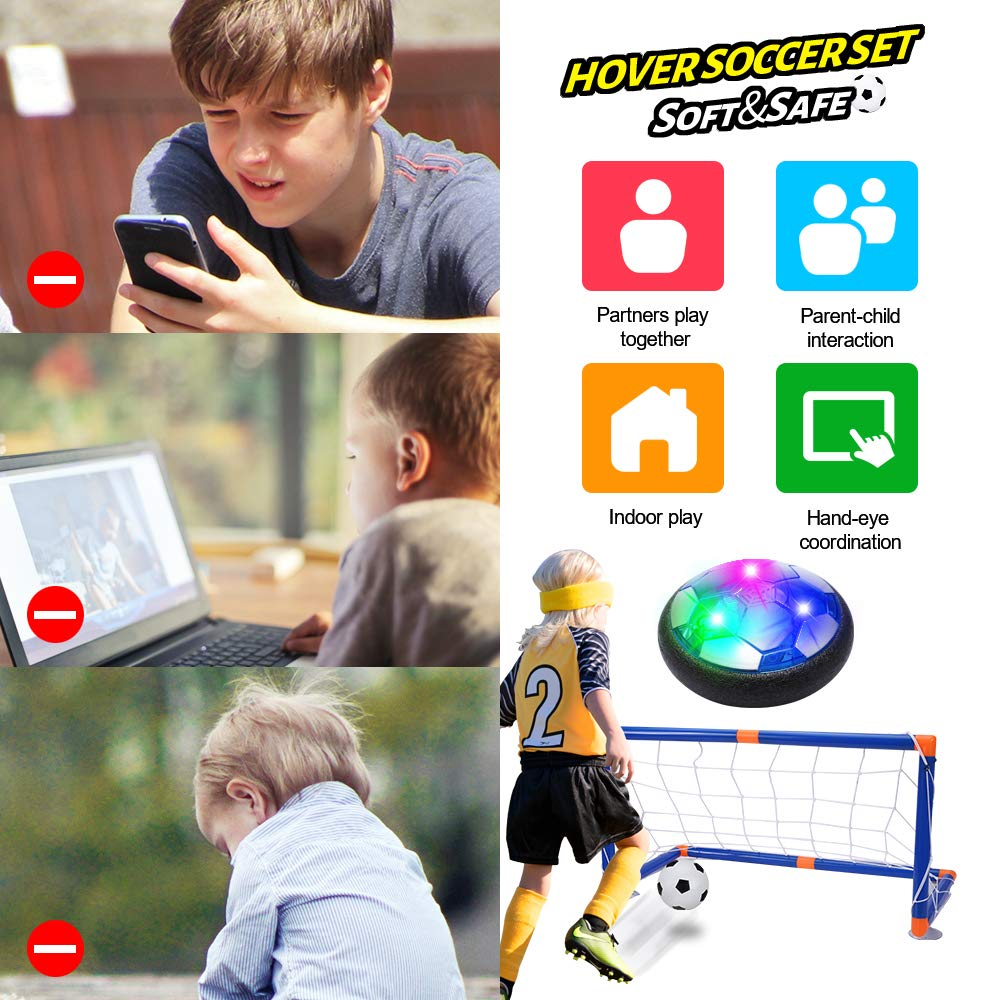 Indoor /& Outdoor Hover Football Toy with LED Light and Foam Bumpers for 3 4 5 6 7 8-16 Years Old Boy Girl SUGIFT Hover Soccer Ball for Kids Rechargeable Indoor Soccer Toys with 2 Goals
