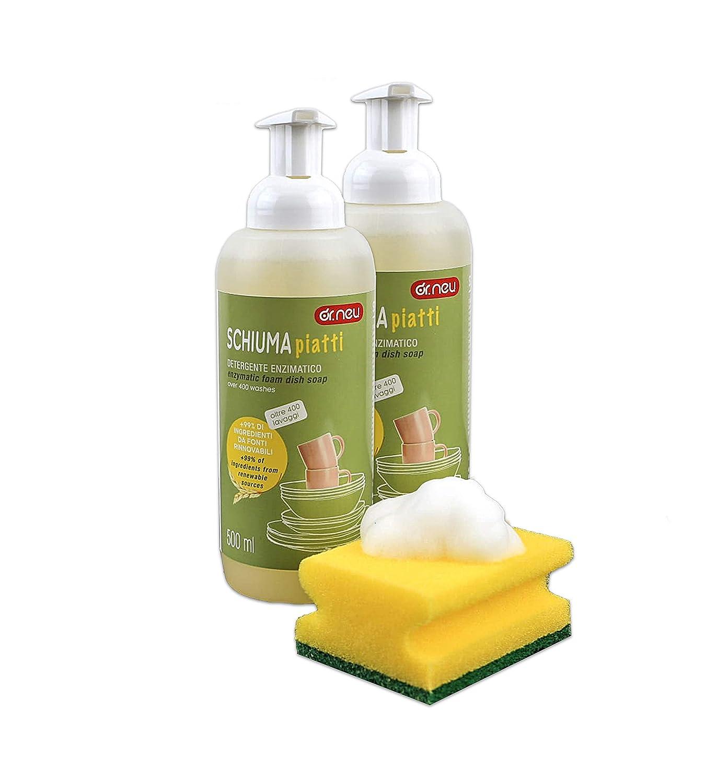 Dr. Neu Enzyme detergente en Espuma para vajilla y vajilla (2 ...