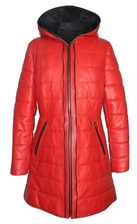 19b493d4d7b46e Seta Pelle Damen Designer Winter Leder Mantel Lammnappa Echtleder (Rot, 40)