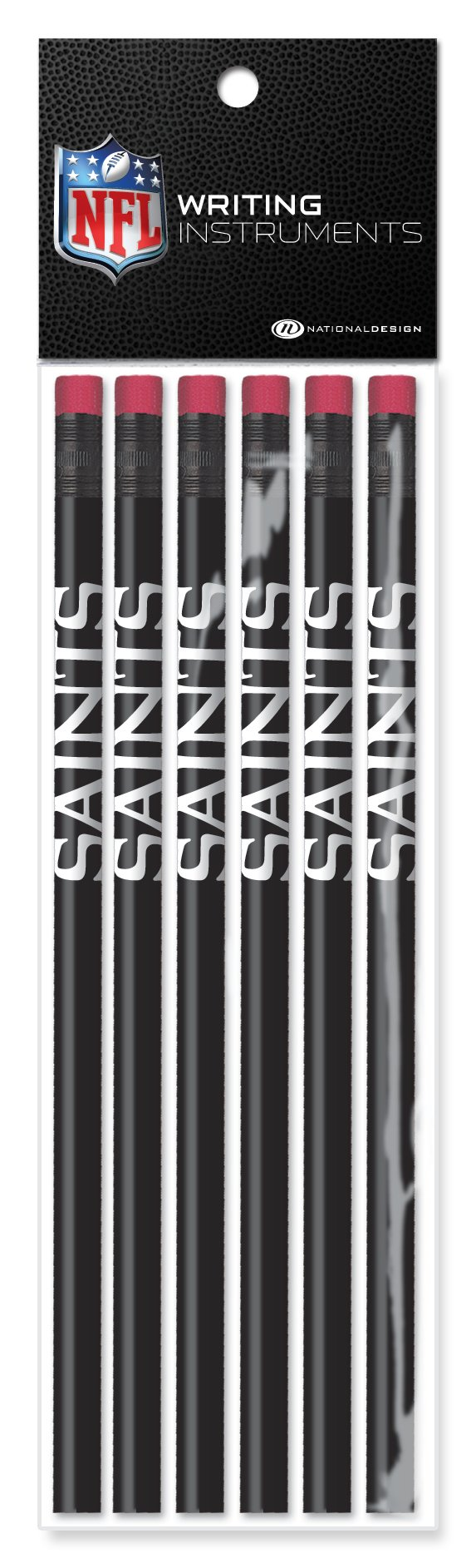 NFL New Orleans Saints Pencils (6 Pack), Black
