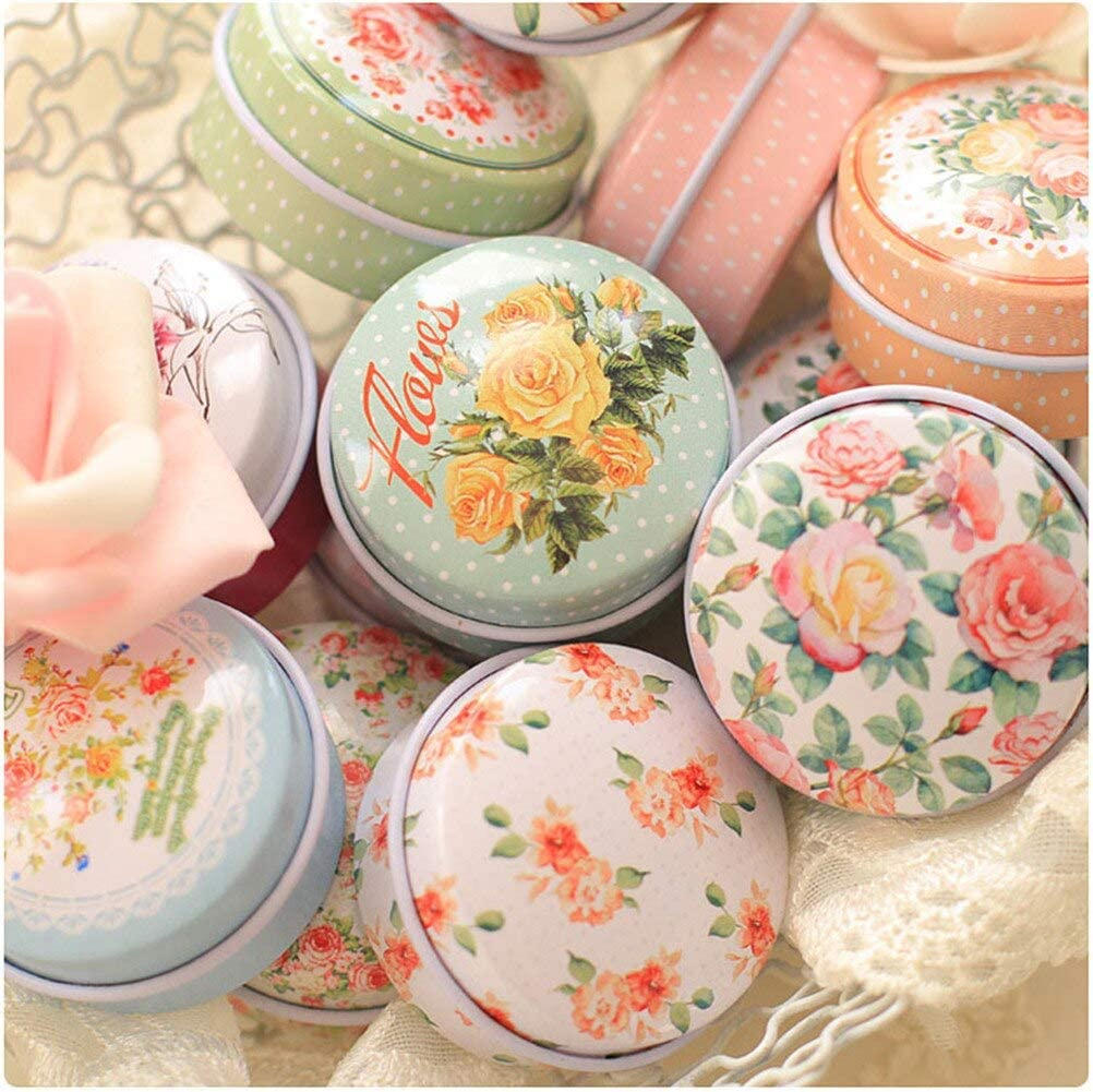 1NG Europe Type Style Flower Tea Caddy Receive Box Candy Storage Wedding Favor Tin Cable Organizer - Containers Organizer Glass Plastic Lids Dividers Small Food Compartment Be