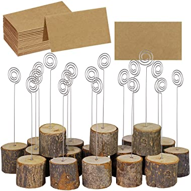 Supla 20 Pcs Rustic Wood Place Card Holders with Swirl Wire Wooden Bark Memo Holder Stand Card Photo Picture Note Clip Holders 5.8  and Kraft Place Cards Bulk for Wedding Party Table Number Name Sign