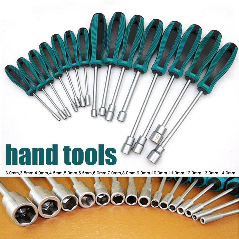 3MM-14MM Hexagon Nut Hex Socket Wrench Screwdriver Metal Hex Nut Key Manual Tool Screwdriver Black Green