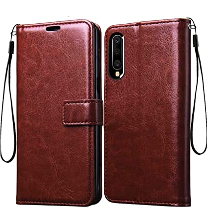 huge discount 147b3 11b6d Frazil Vintage Flip Cover Case for Samsung Galaxy A50 Leather | Inner TPU |  Foldable Stand | Wallet Card Slots - Walnut Brown