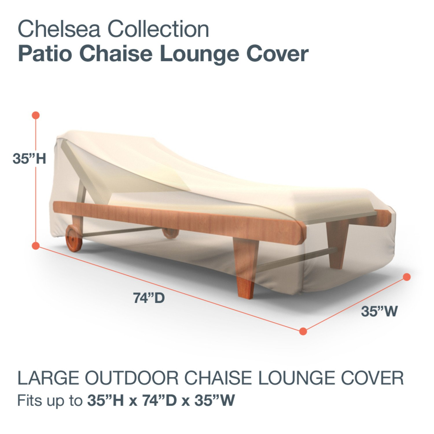 Budge Chelsea Patio Chaise Lounge Cover, Large Tan