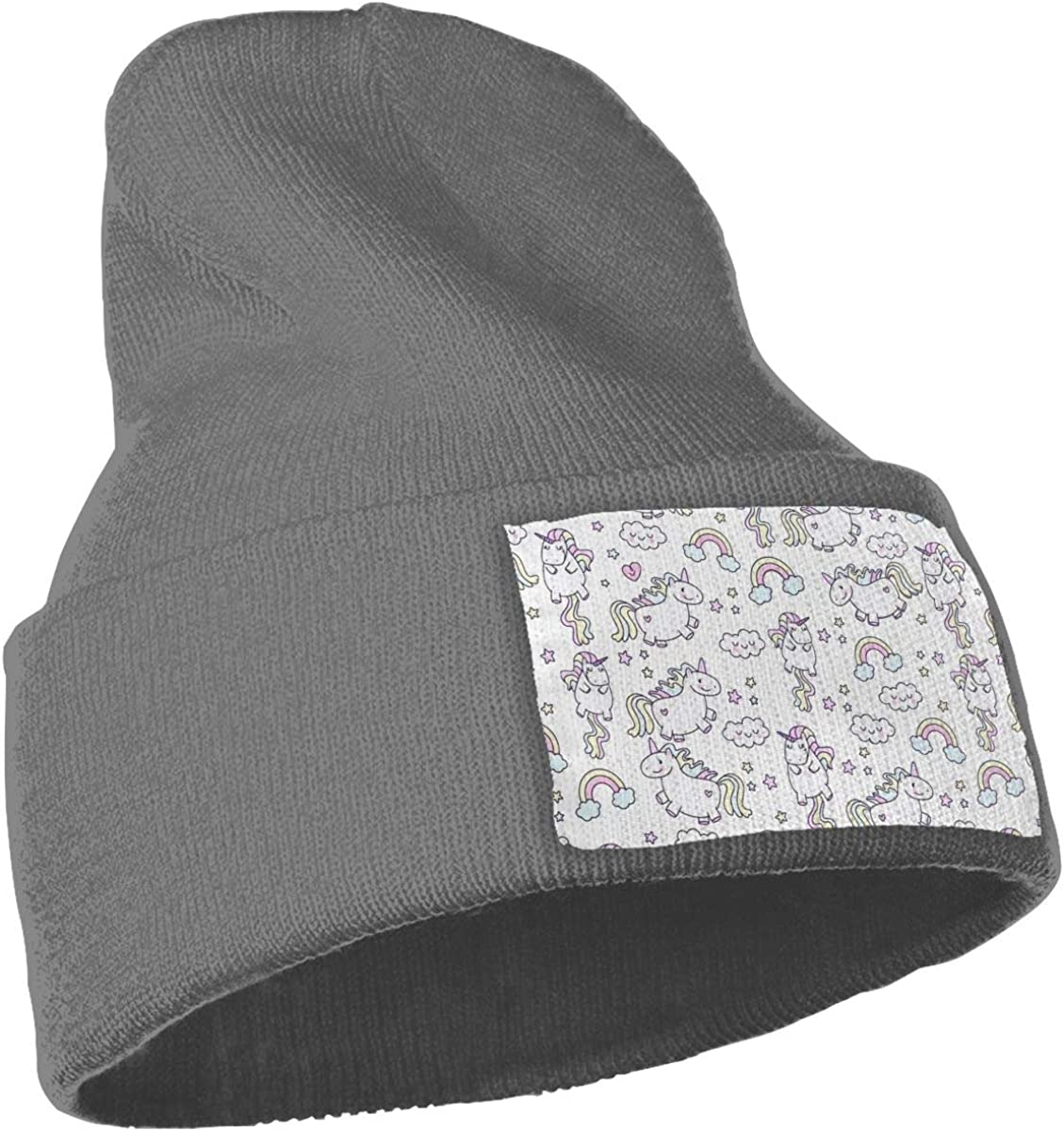 Unicorn Hat for Men and Women Winter Warm Hats Knit Slouchy Thick Skull Cap Black