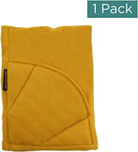 Rachael Ray Kitchen Towel, Oven Glove Moppine - 2-in-1 Ultra Absorbent Kitchen Towels with Heat Resistant Padded Pockets Like Pot Holders and Oven Mitts to Handle Hot Cookware - Mustard, 1 Pack