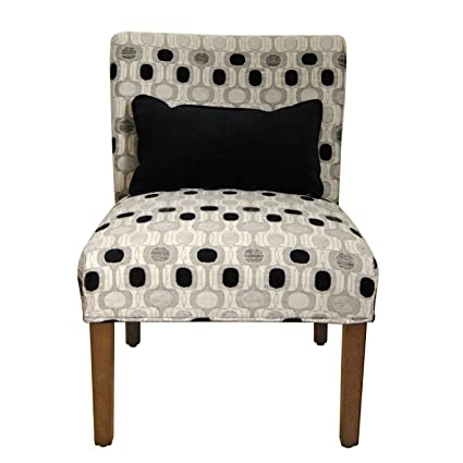HomePop Parker Accent Chair With Pillow, Black And White