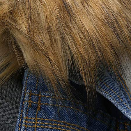 FELZ Abrigos Mujer Abrigos de Chaqueta Vaquera de Manga Larga de Lana con Cuello de Piel de Vaquero para Mujer