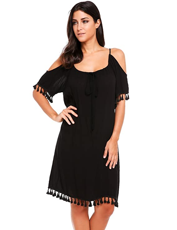 ACEVOG Women's Summer Cold Shoulder Lace Tassel Loose Bohemian Beach Dress (Medium, Red)