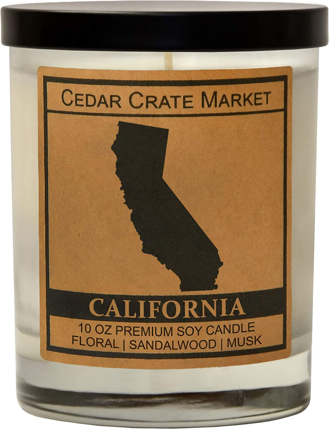 California Kraft Label Scented Soy Candle, Floral, Sandalwood, Musk, 10 Oz. Glass Jar Candle, Made in The USA, Decorative Candles, Going Away Gifts for Friends, State Candles