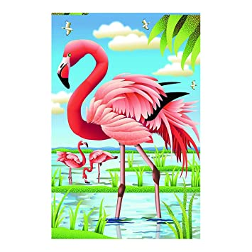 Amazoncom Flamingo Garden Flag Beautiful Lakeside Scenery 100