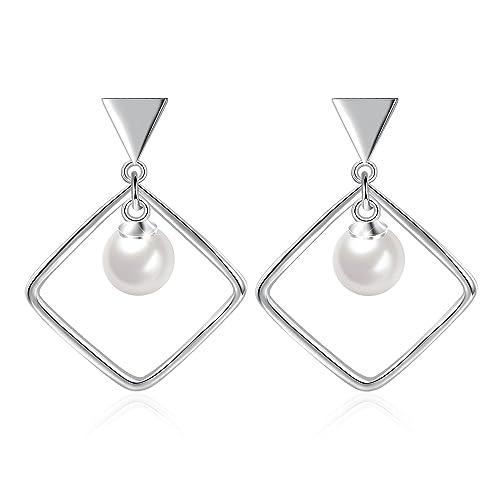 925 Sterling Silver Twist Earrings Linear Loops Design Pearl Dangle Earrings FeMLCKNH