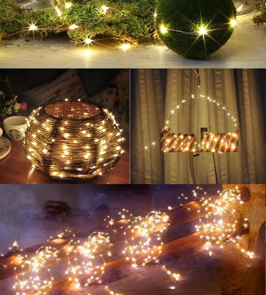 Warm White 2pack Bolansi Solar Outdoor String Lights,Indoor String Lights Copper Wire 100 LED Starry Light Waterproof for Christmas Wedding Party Outdoors Decor 39ft