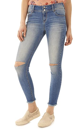 3611b58be87f9 Amazon.com: WallFlower Juniors InstaSoft Ultra Fit Fray Hem Skinny Jeans in  Maggie Size:3: Clothing