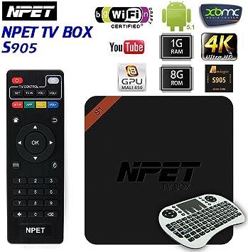NPET S1 Android 5.1 Amlogic Quad-Core Smart TV Box S905 1 GB 8 GB: Amazon.es: Electrónica