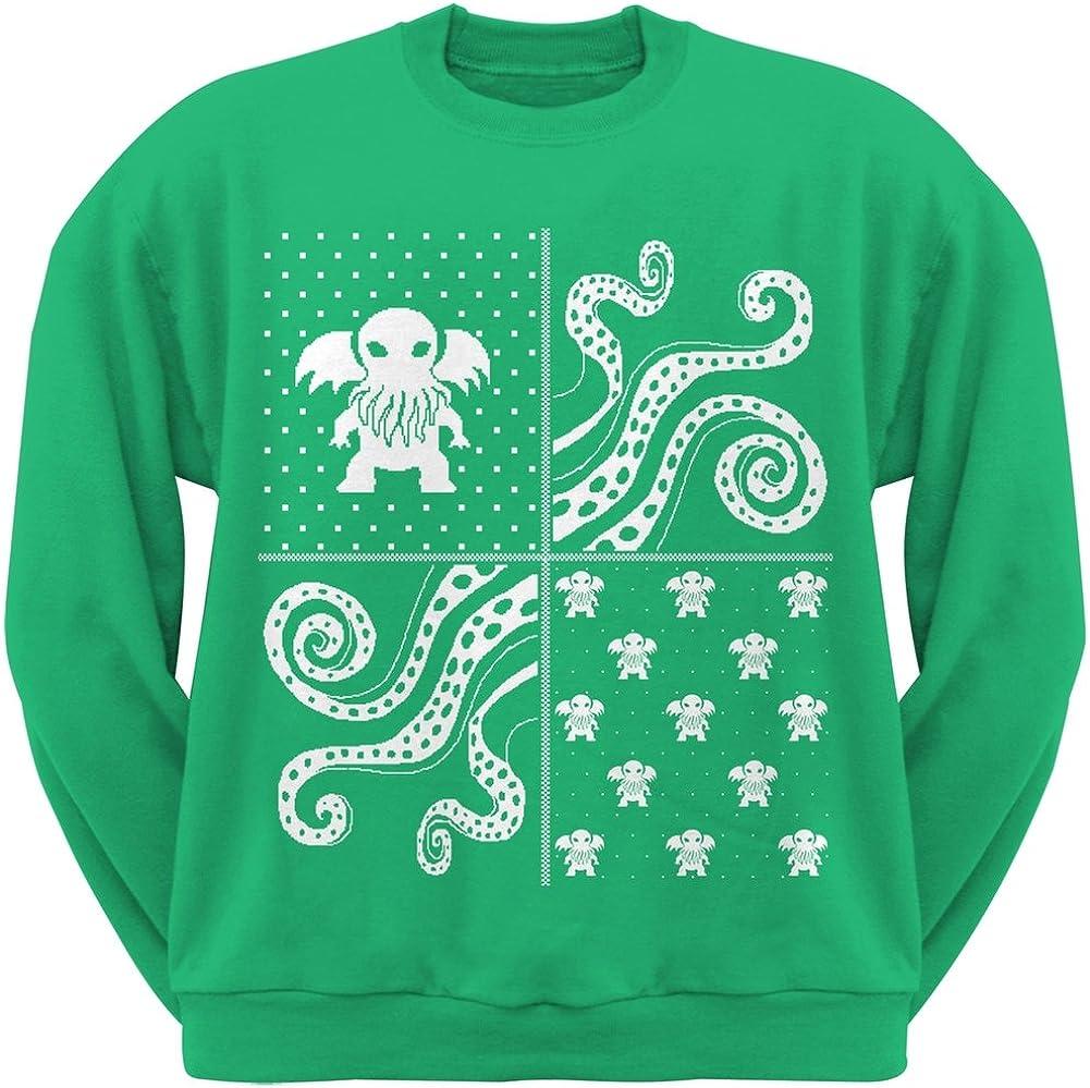 Old Glory Cthulhu Lovecraft Ugly Christmas Sweater Green Adult Crew Neck Sweatshirt