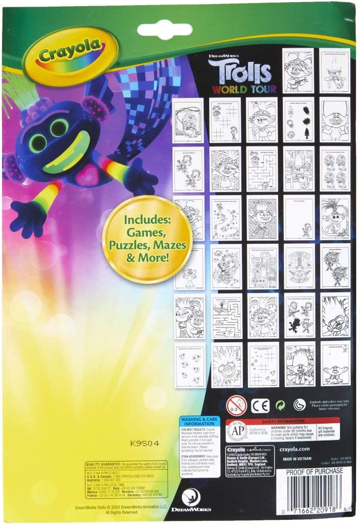 32 Coloring Pages /& 7 Markers Gift for Kids Multi Crayola Spirit Coloring Book with Activities