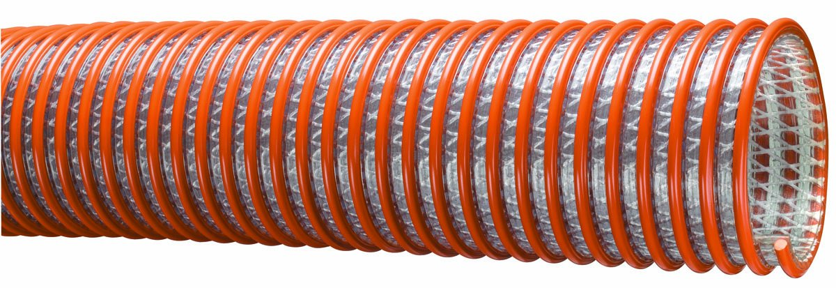 Tigerflex WST Series Heavy Duty PVC Fabric Reinforced Suction and Discharge Hose, 70 PSI Max Pressure, 3 inches ID, 100 feet Length