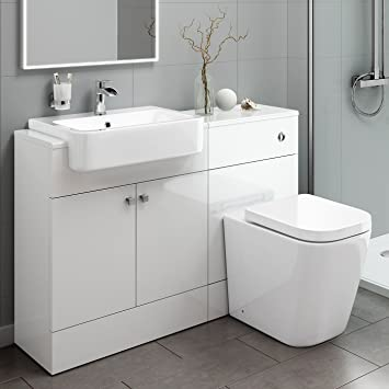 Designer Gloss White Basin Sink Toilet Pan WC Bathroom Rimless Combined  Vanity Unit Furniture Storage