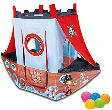 DIY Creations Play Tent Pirate Ship Boy Girl Red Roof Kids Cubby Pop Up House Indoor  sc 1 st  Amazon.com & Amazon.com: DIY Creations Play Tent Pirate Ship Boy Girl Red Roof ...