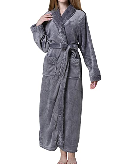 ebc8e6fd44 LAPAYA Women s Long Robe Soft Fleece Fuzzy Kimono SPA Bath Robe Housecoat  Sleepwear